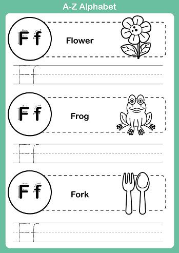A-Z alphabet vocabulary exercise page with cartoons