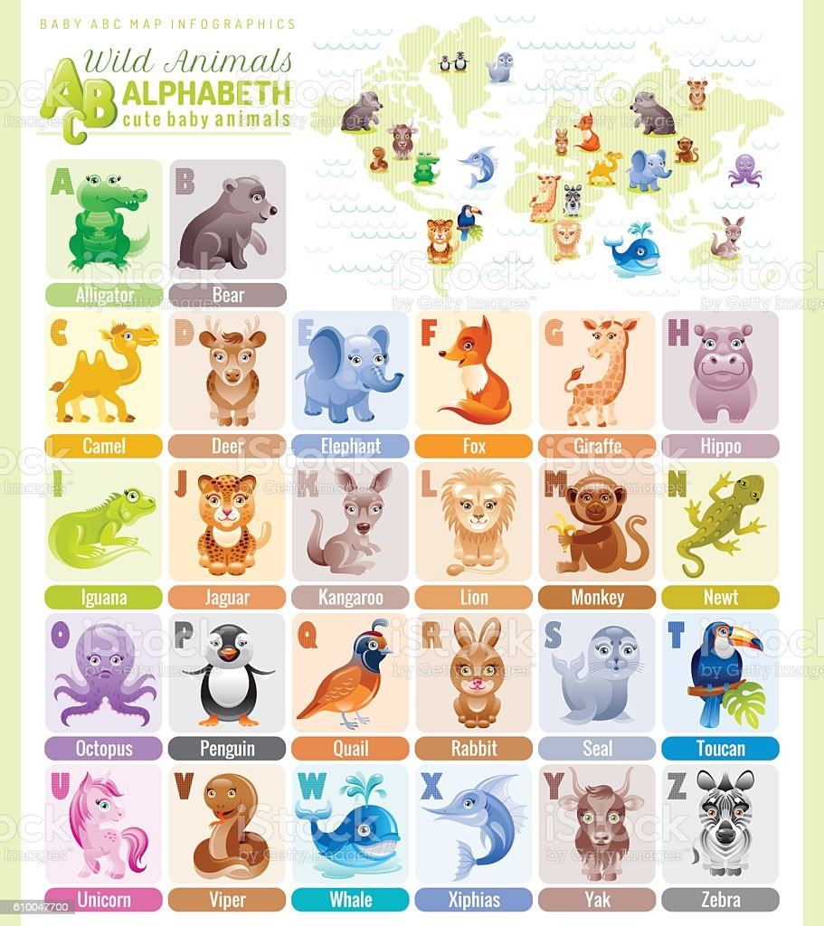 Alphabet wildlife infographics. Wild animals, sea life, birds vector icons. – Vektorgrafik