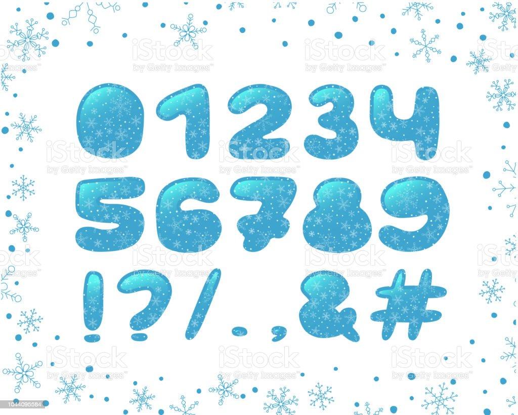 アルファベット冬デザイン書体クリップアート氷スタイル数字と句読点