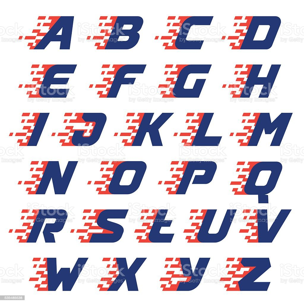 Alphabet with abstract checkered flag vector art illustration