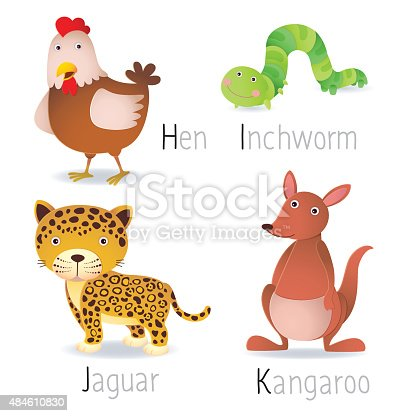 istock Alphabet with animals from H to K Set 2 484610830