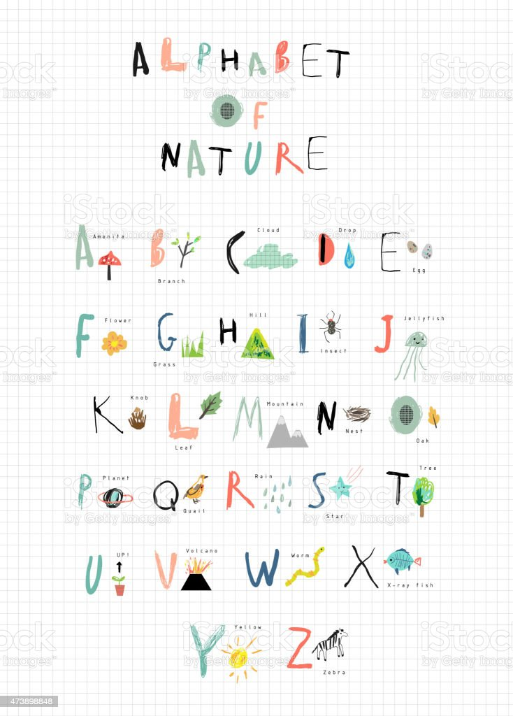 Alphabet with cute font and nature icons next to each letter vector art illustration
