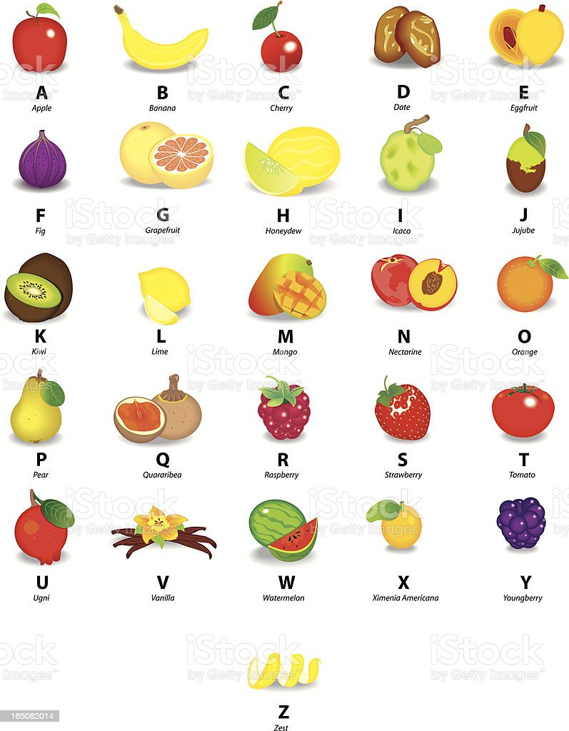 Alphabet with Fruits vector art illustration