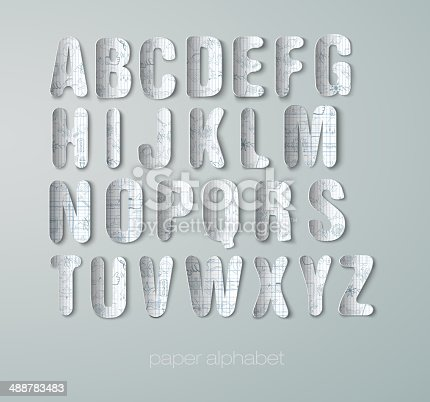 alphabet with graphic paper drawn illustration
