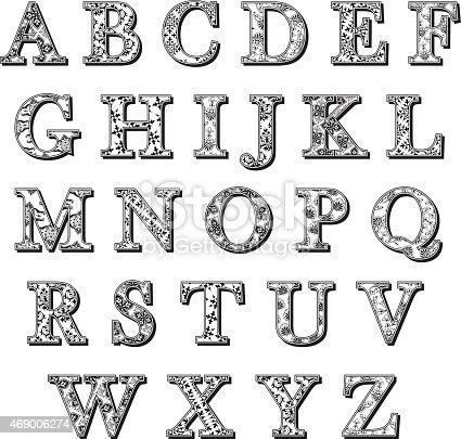 Ilustraci n de alfabeto con letras con dise o de arco iris for Estilos de letras