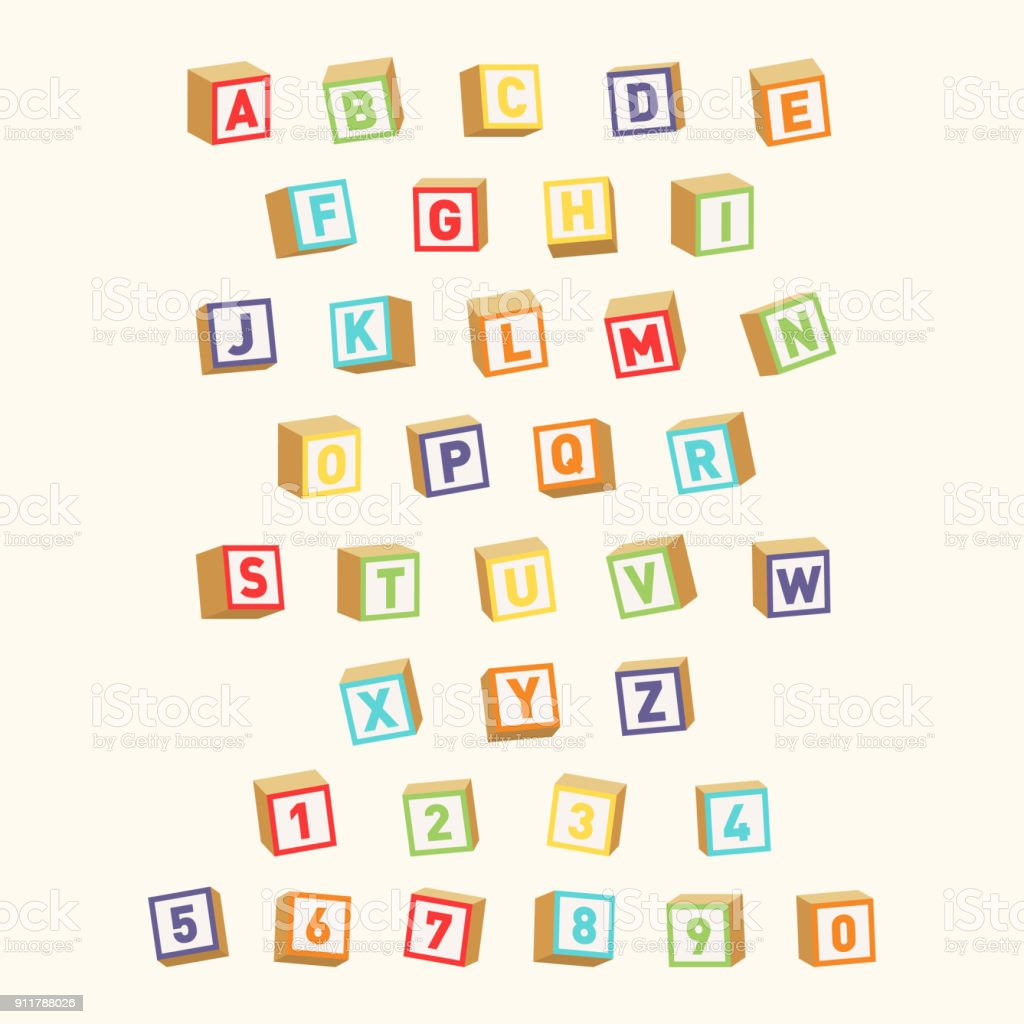 Alphabet with numbers, childish font. Colorful toy blocks for children education vector art illustration