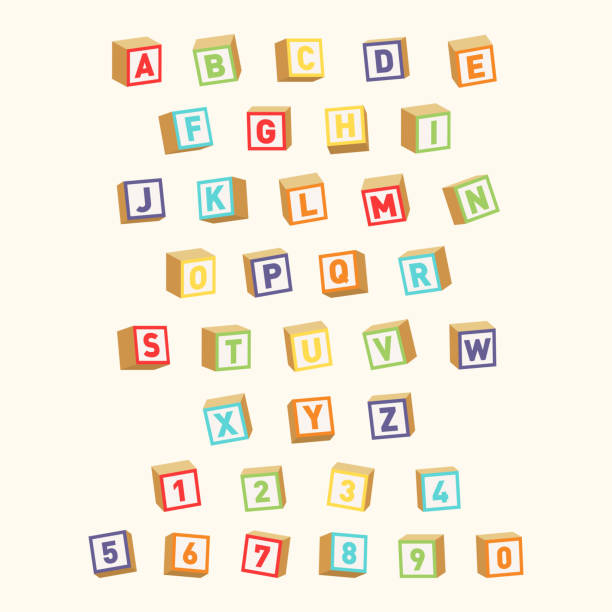 alphabet with numbers, childish font. colorful toy blocks for children education - blocks stock illustrations, clip art, cartoons, & icons
