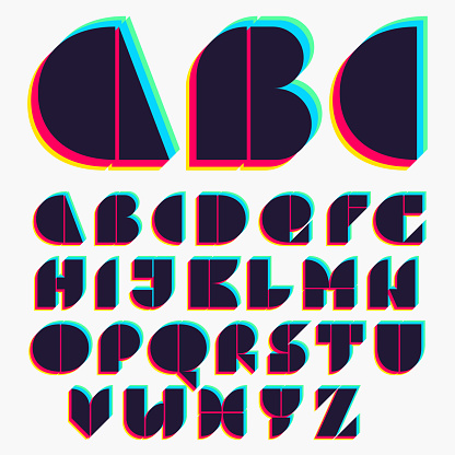Alphabet with stereo effect.