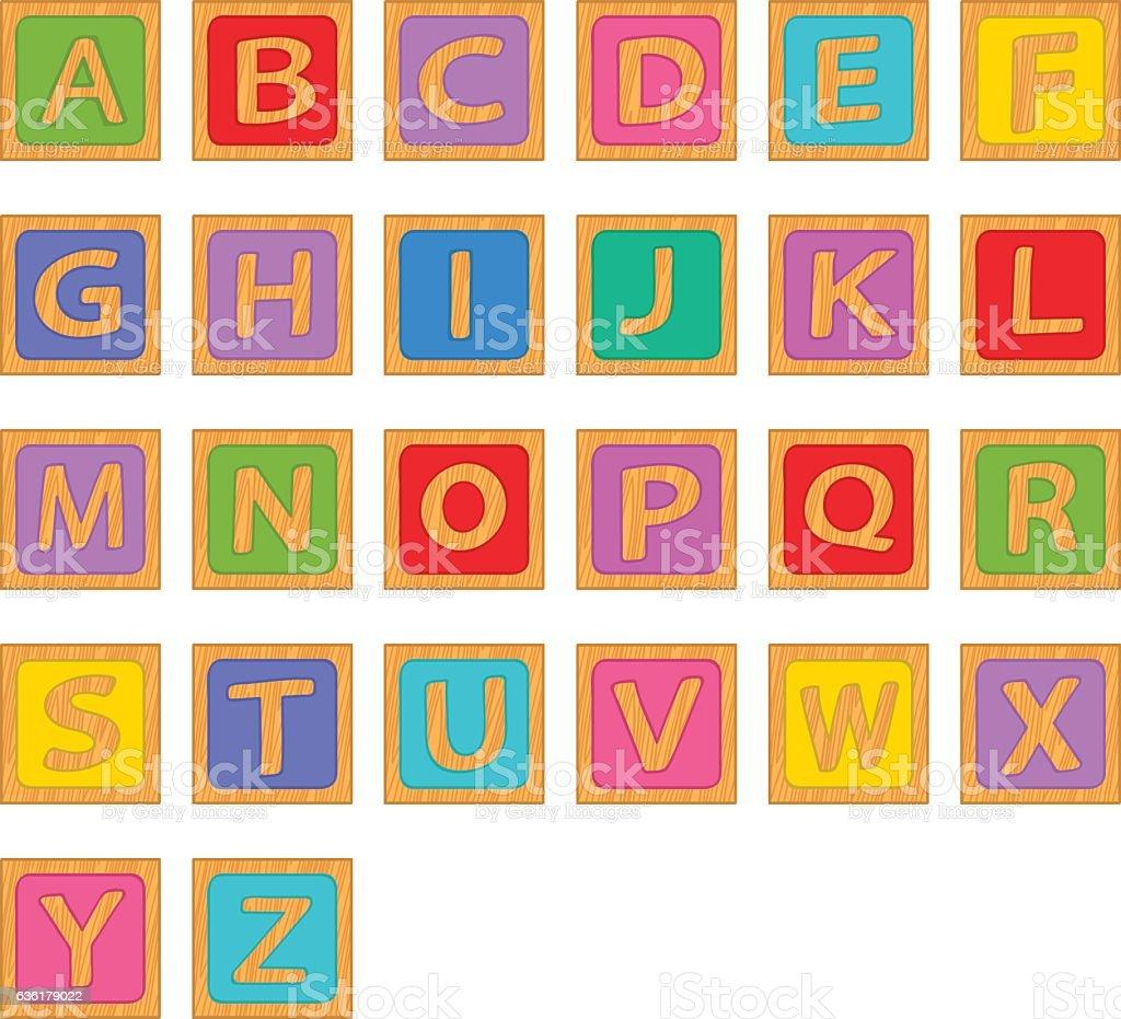 alphabet wooden english blocks - ilustración de arte vectorial
