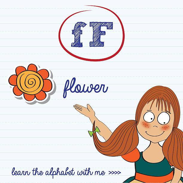 alphabet de la feuille de travail de la Lettre f - Illustration vectorielle
