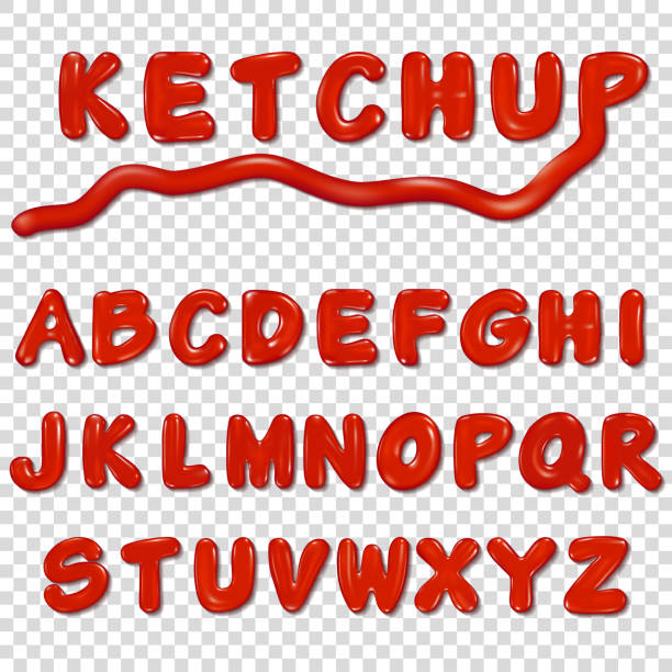 alphabet written by ketchup sauce - vegetable blood stock illustrations, clip art, cartoons, & icons
