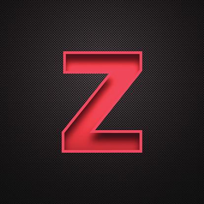 Alphabet Z Design - Red Letter on Carbon Fiber Background