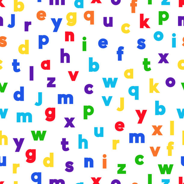 Alphabet-12 Alphabet seamless background.  Endless vector pattern with multicolor letters on a white background. alphabet backgrounds stock illustrations