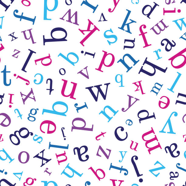 Alphabet-15 Alphabet seamless background.  Endless vector pattern with multicolor letters on a white background. alphabet backgrounds stock illustrations