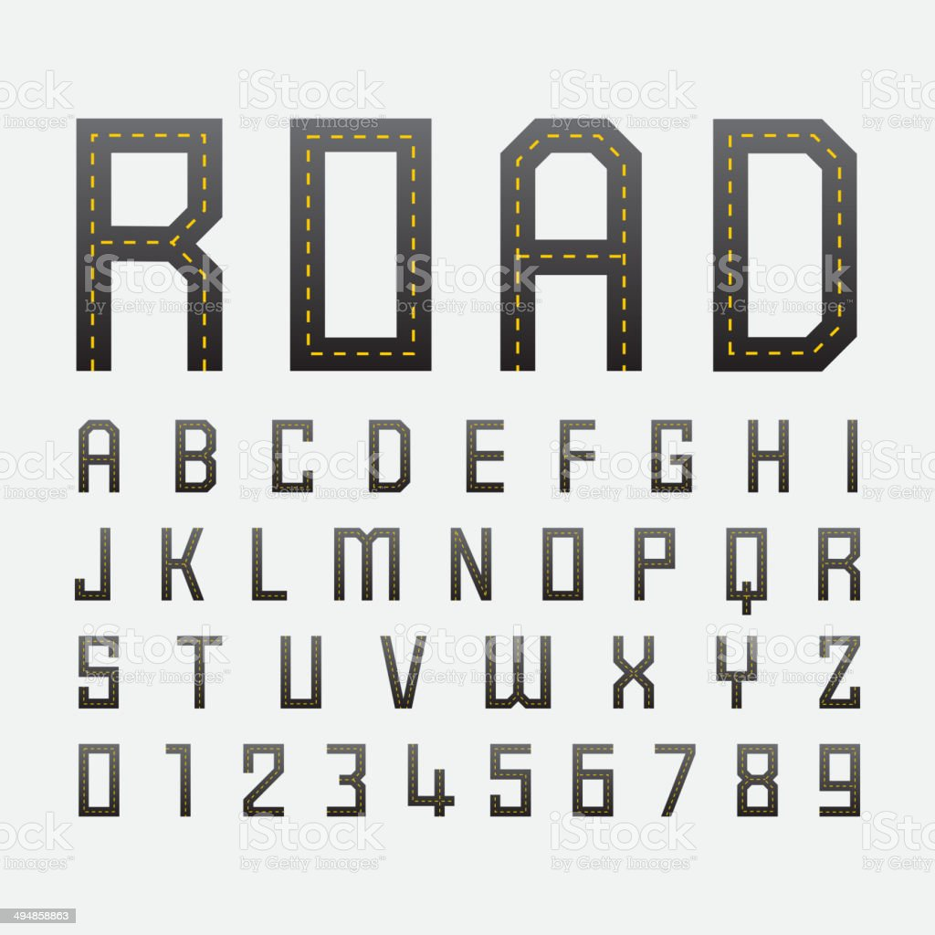 alphabetic fonts and numbers with road style vector art illustration