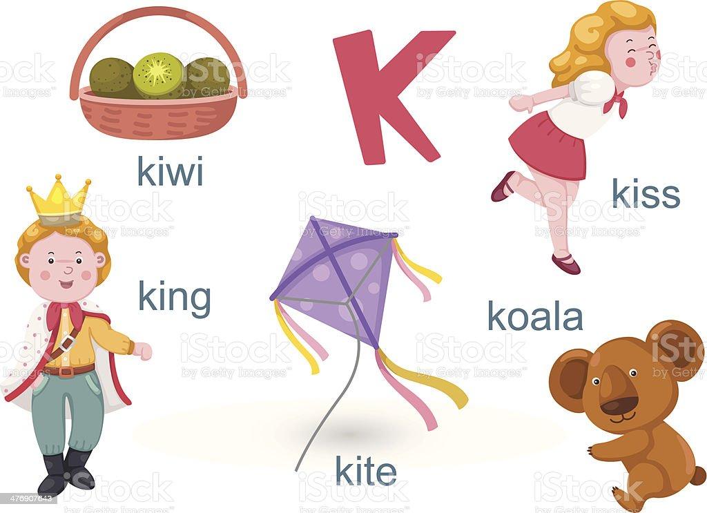 Alphabet.K letter.koala,kiss,kiwi,king,kite royalty-free stock vector art