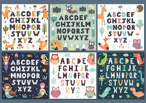 Alphabets collection with cute characters. Wall Art for kids