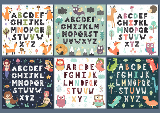 Alphabets collection with cute characters. Wall Art for kids Alphabets collection with cute characters. Wall Art for kids. Vector illustration alphabet clipart stock illustrations