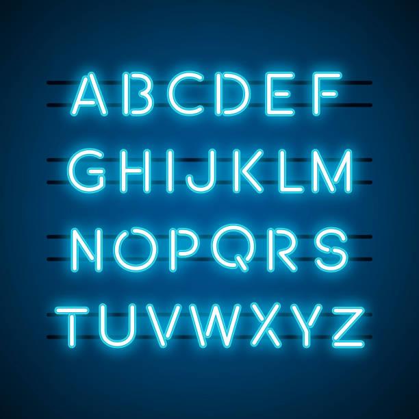네온 빛에 알파벳 - 형광색의 stock illustrations