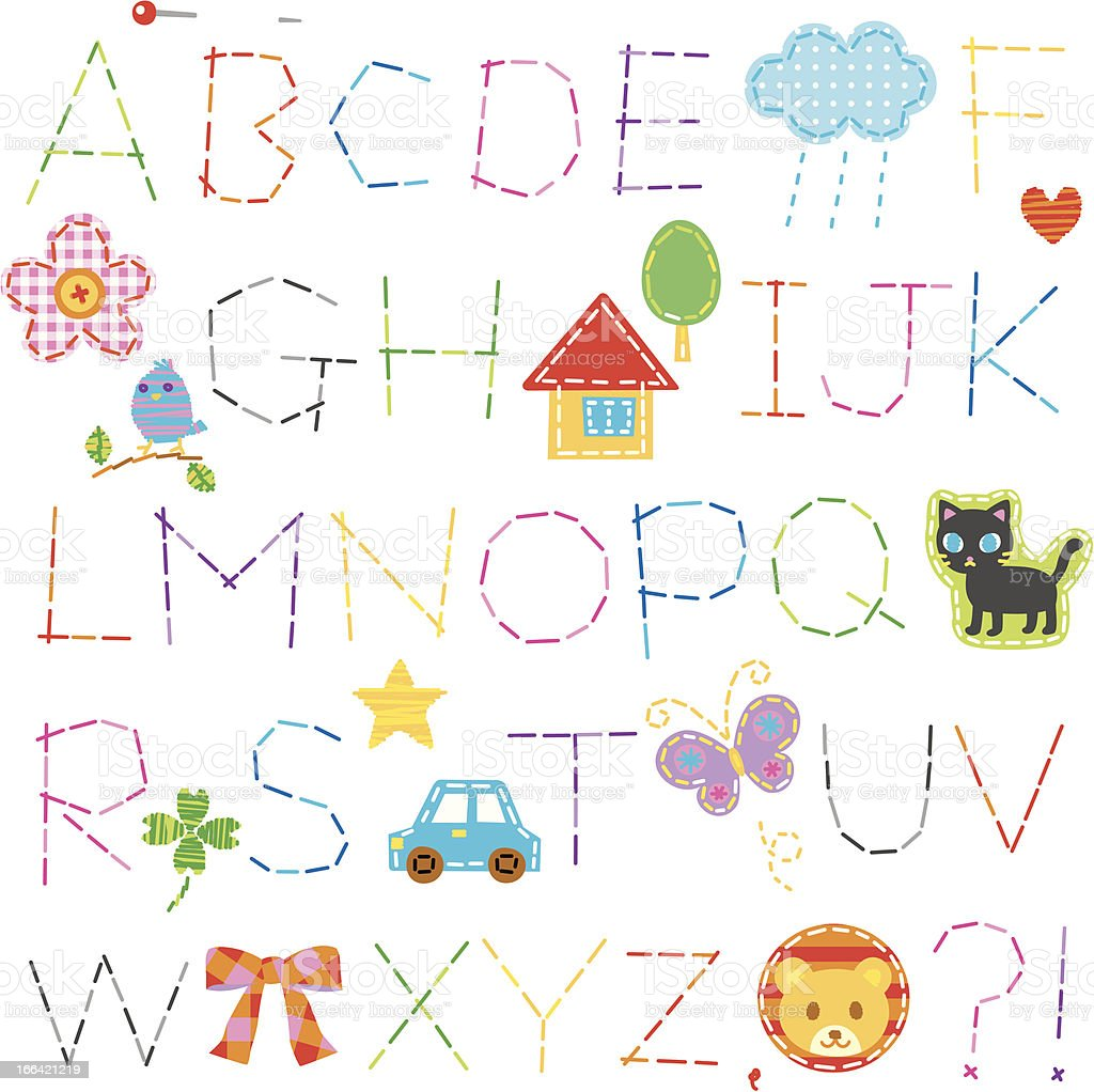 alphabet,stitch royalty-free alphabetstitch stock vector art & more images of alphabet
