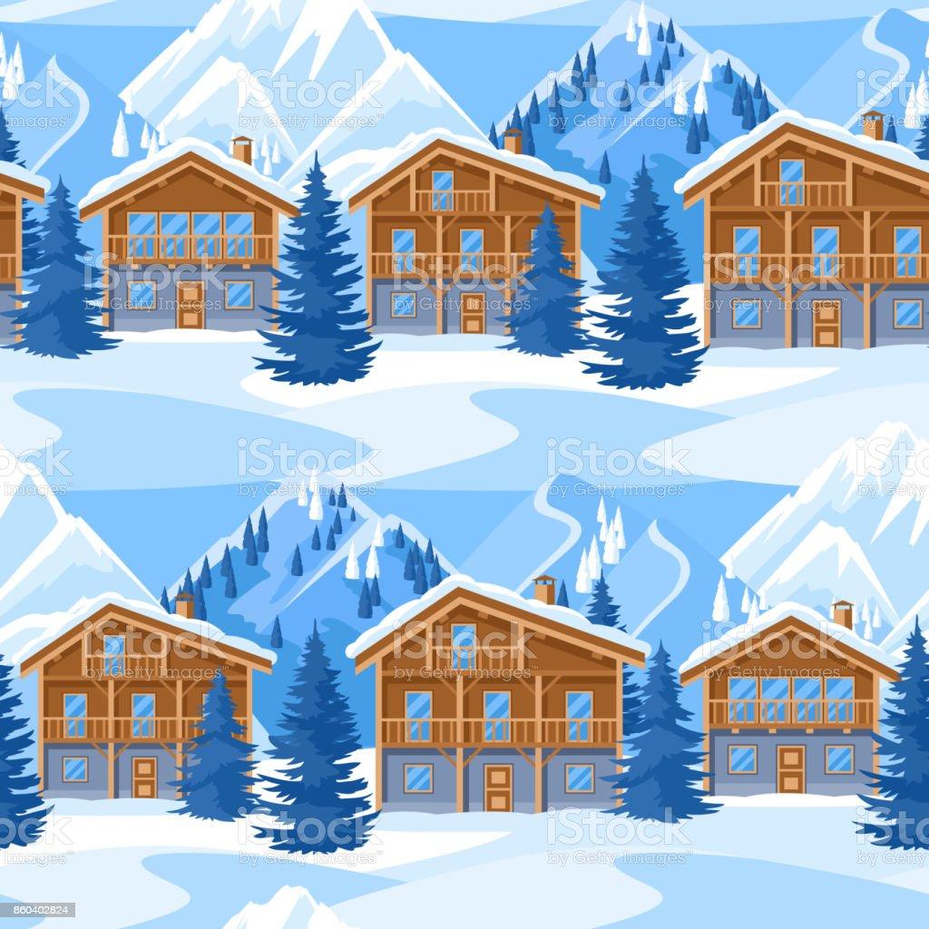 Alp Dağ Evi Seamless Modeli Ev Sahipliği Yapmaktadır Karlı Dağlar Ve