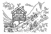 Hand-drawn vector drawing of a Mountain Landscape with a Alpine Hut, Hiking Trip Concept. Black-and-White sketch on a transparent background (.eps-file). Included files are EPS (v10) and Hi-Res JPG.