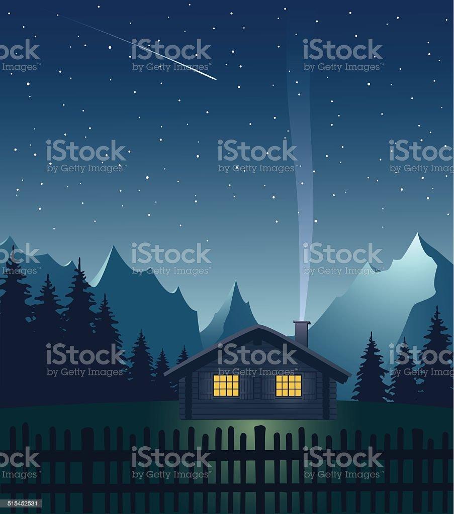 Alpine hut in the mountains at night vector art illustration