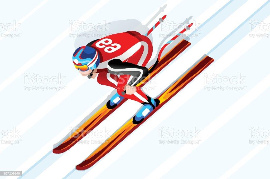 Skiing downhill athlete winter sport man vector 3D isometric icon.