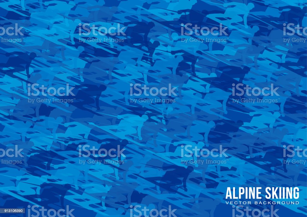 Alpine Skiing vector background - lot of blue skiers silhouettes...