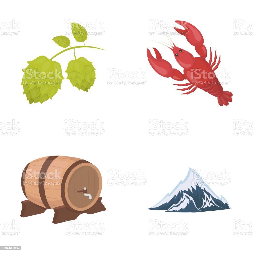 Alperna, ett fat öl, hummer, humle. Oktoberfest som samling ikoner i tecknad stil vektor symbol stock illustration web. - Royaltyfri Alperna vektorgrafik