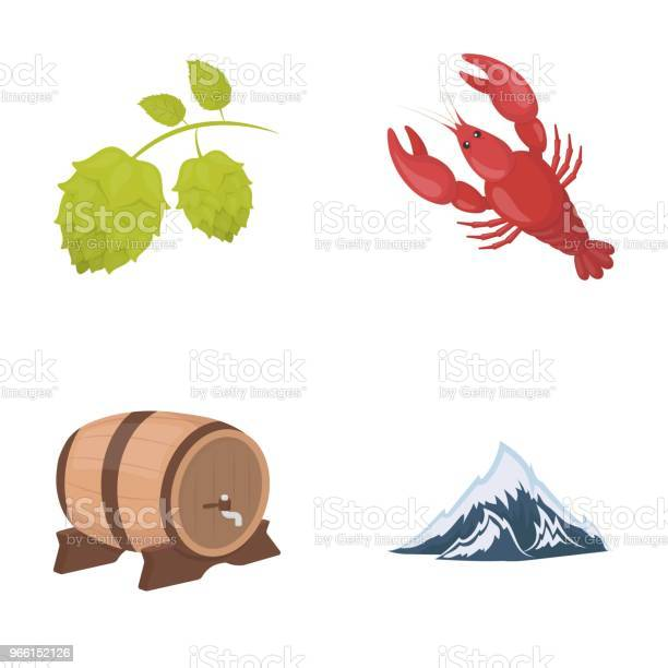 Alperna Ett Fat Öl Hummer Humle Oktoberfest Som Samling Ikoner I Tecknad Stil Vektor Symbol Stock Illustration Web-vektorgrafik och fler bilder på Alperna