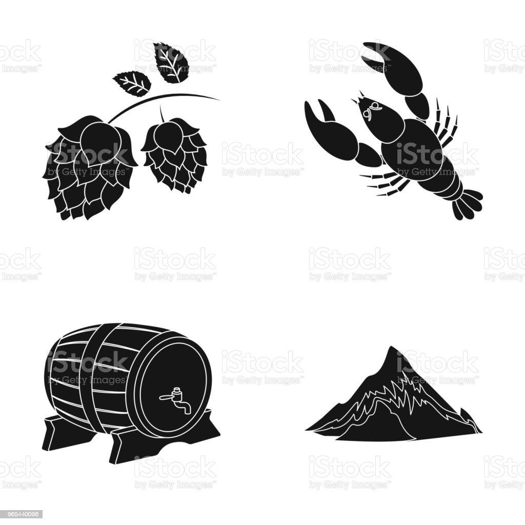 Alpes, un baril de bière, de homard, de houblon. Oktoberfestset les icônes de collection en noir style vecteur symbole stock illustration web. - clipart vectoriel de Aliment cuit à l'eau libre de droits