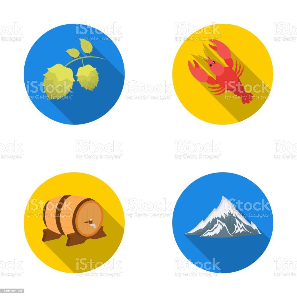 Alperna, ett fat öl, hummer, humle. Oktoberfestset samling ikoner i platt stil vektor symbol stock illustration web. - Royaltyfri Alperna vektorgrafik