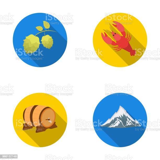 Alperna Ett Fat Öl Hummer Humle Oktoberfestset Samling Ikoner I Platt Stil Vektor Symbol Stock Illustration Web-vektorgrafik och fler bilder på Alperna