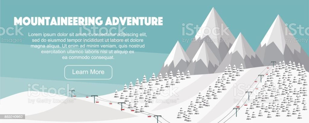 Alps, fir trees, ski lift, mountains wide panoramic background. Mountaineering adventure. vector art illustration