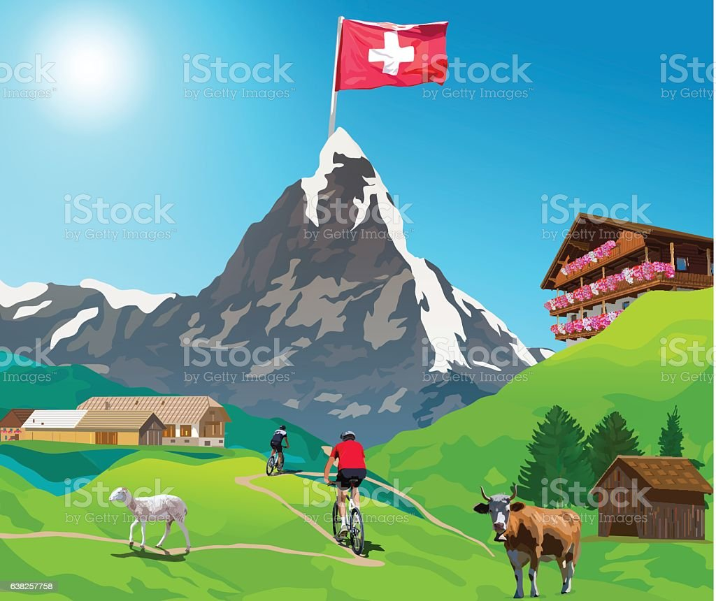 Alps Matterhorn card vector art illustration
