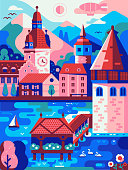 Summer Switzerland travel poster inspired by Lucerne landscape. Vertical swiss panorama with old town on lake, Alps mountains, clock tower, swans and wooden bridge. Spring city print in retro style.