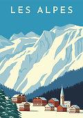 Alps travel retro poster, vintage banner. Mountain village of Austria, winter landscape of Switzerland. Hand drawing flat vector illustration.