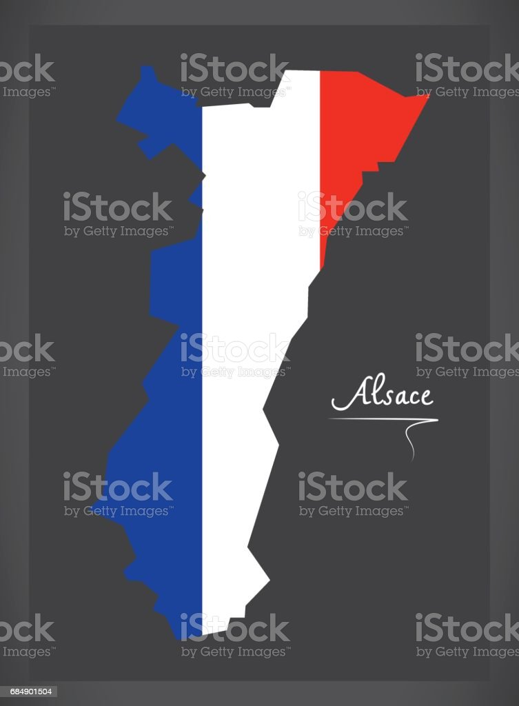Alsace map with French national flag illustration - Illustration vectorielle