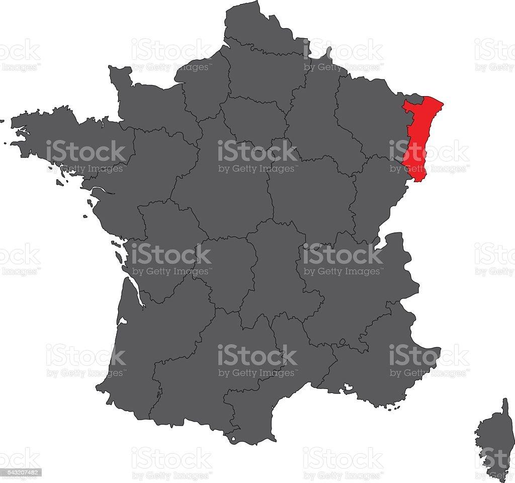 Alsace rouge sur gris carte de France Carte vectorielle - Illustration vectorielle