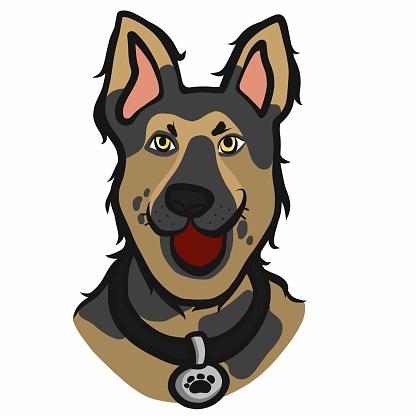 Alsatian dog face cartoon vector illustration