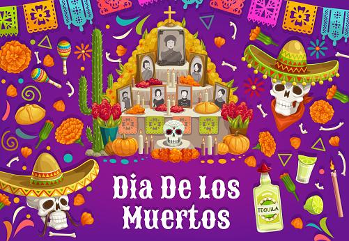 Altar with photos of dead, Dia de los Muertos