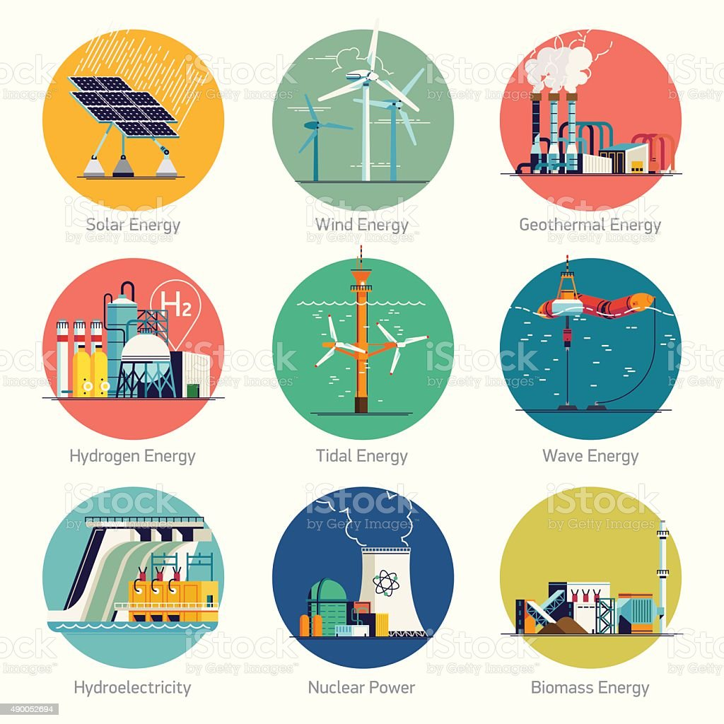 Alternative and renewable green energy icons vector art illustration