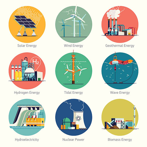 stockillustraties, clipart, cartoons en iconen met alternative and renewable green energy icons - waterstof