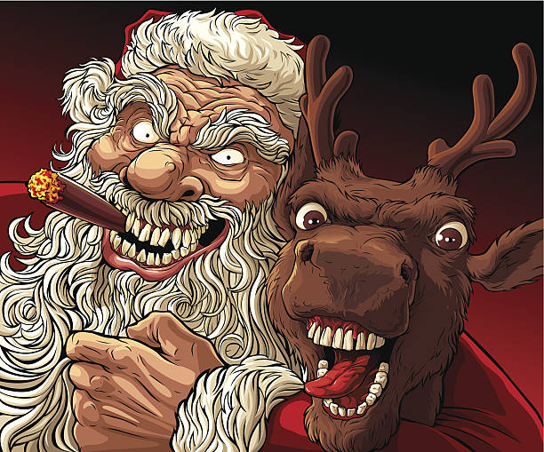 stockillustraties, clipart, cartoons en iconen met alternative christmas: drunk santa and deer - guy with cigar