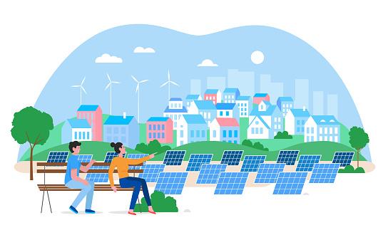 Alternative city green energy concept flat vector illustration, cartoon eco friendly houses, windmills, solar panels isolated on white