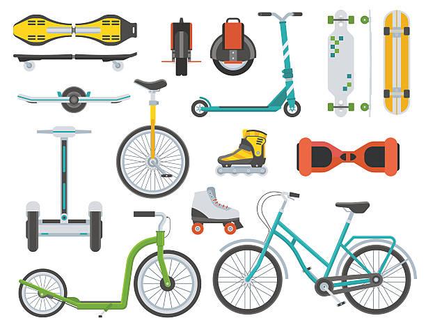 stockillustraties, clipart, cartoons en iconen met alternative city transport - step