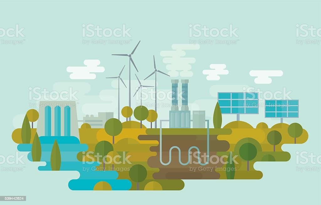 Alternative Clean Energy Flat vector illustration is showing alternative clean energy sources: hydro energy, wind energy, geothermal energy and solar energy. Nicely layered. Blue stock vector