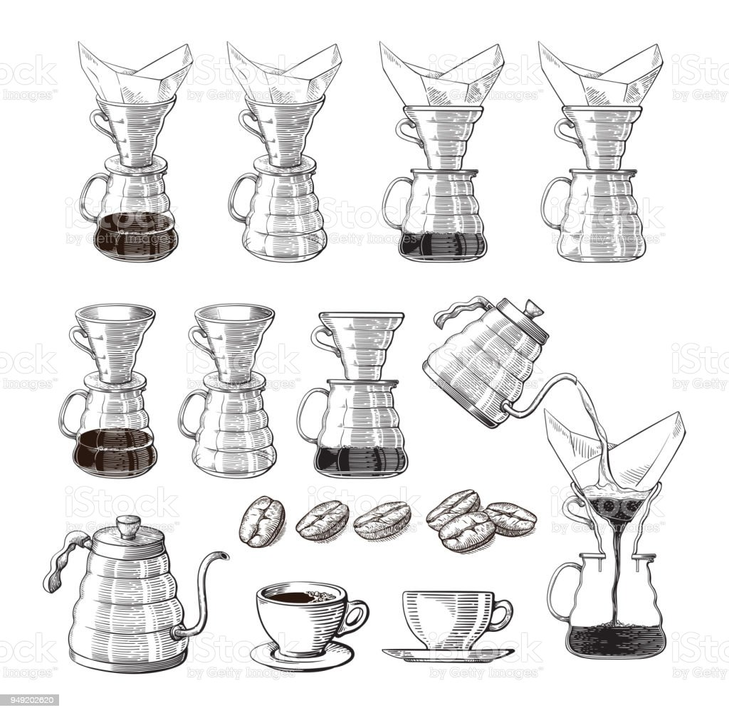 icono de pour-over fabricante de café alternativo. dispositivo para la preparación de café - ilustración de arte vectorial