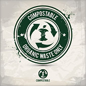 alternative compostable waste stamp containing: two environmentally sound eco motifs in circle frames, grunge ink rubber stamp effect, textured paper background, eps10 vector illustration